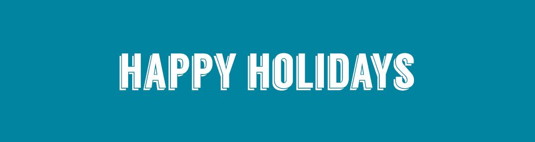 """blue background white text says """"happy holidays"""" in bold"""
