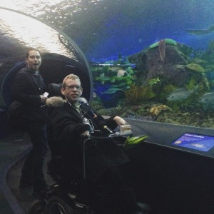 Tim Rose and producer, Denis Calnan on an #accessible moving walkway at Ripley's Aquarium