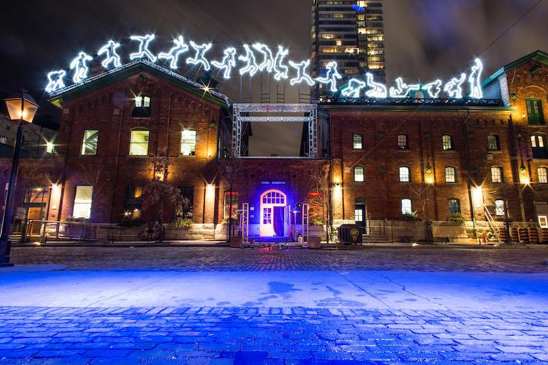 distillery blue light installation