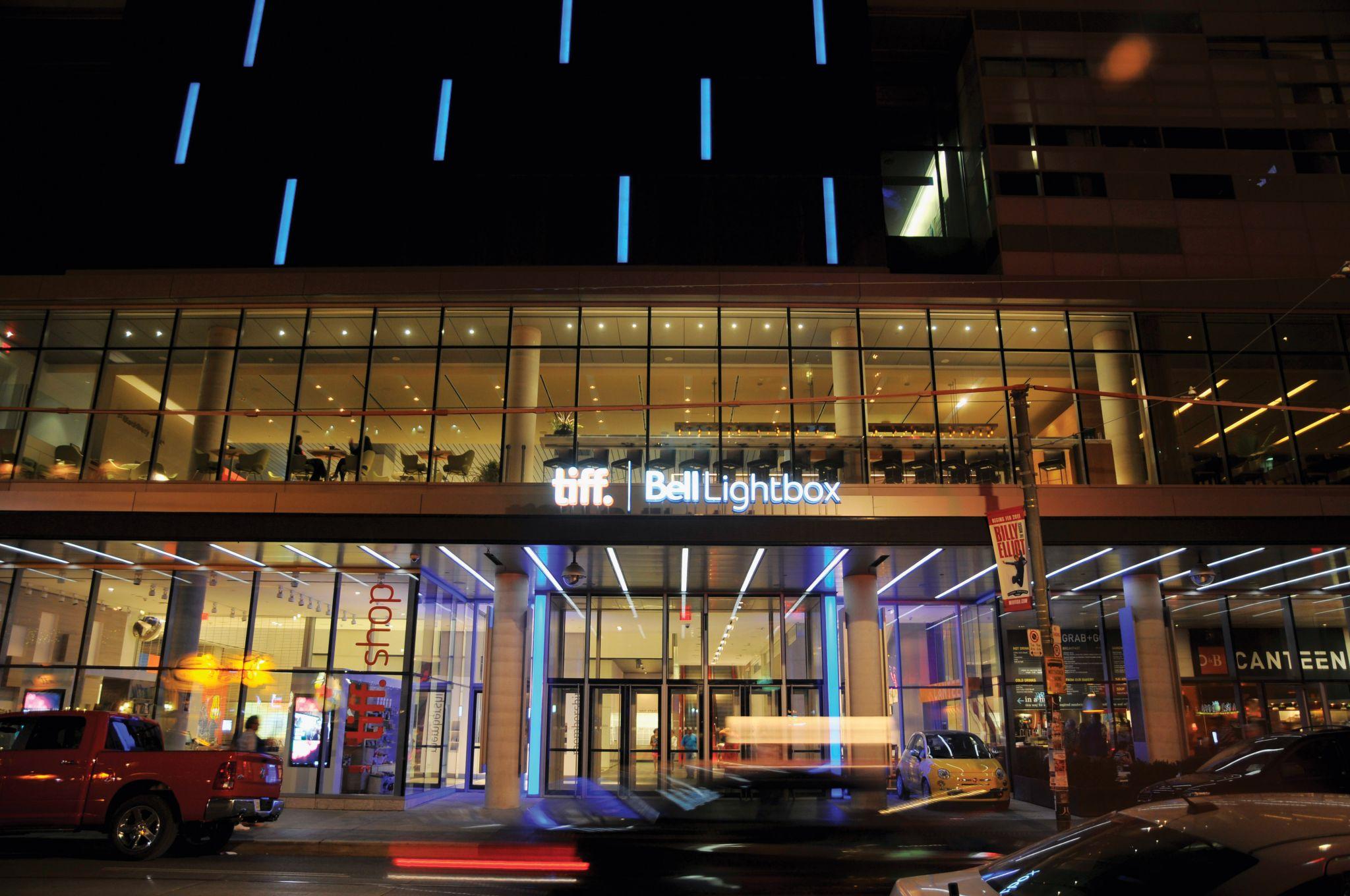 Tiff Bell Lightbox at night exterior shot