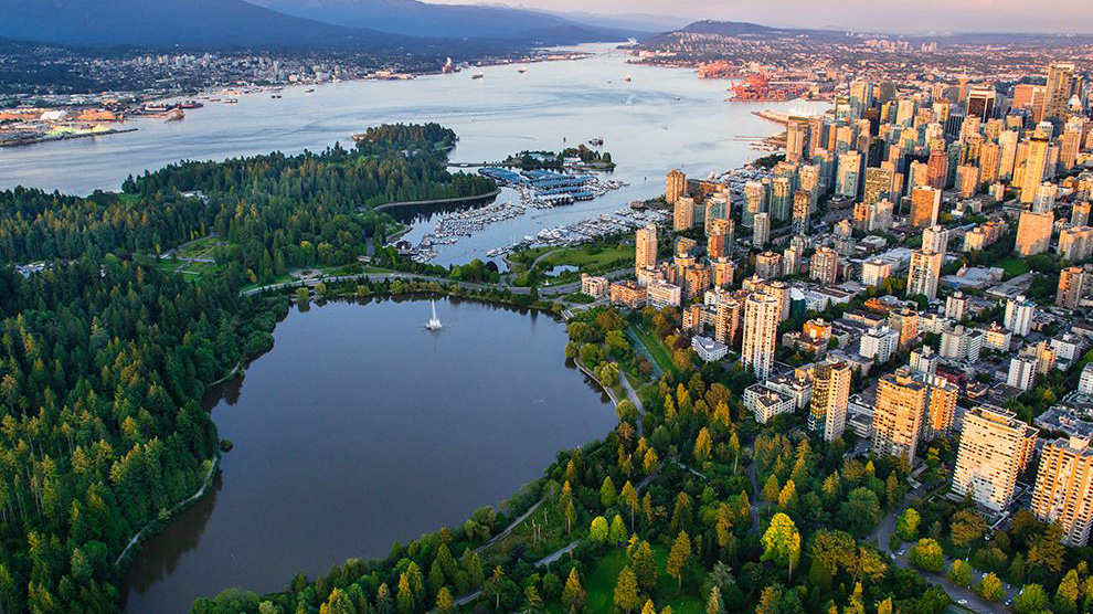 Aerial View of Stanley Park at sunrise