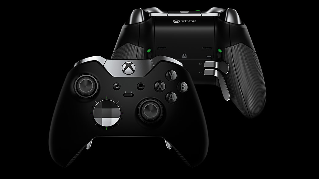 XBox One Elite Controller product shot, front and back