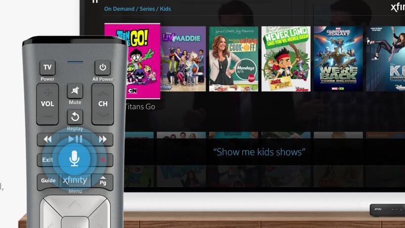 voice-remote product shot. Text: show me kids shows.