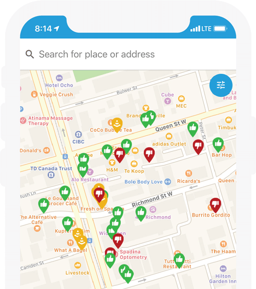 iPhone screenshot of accessnow map with pins on it
