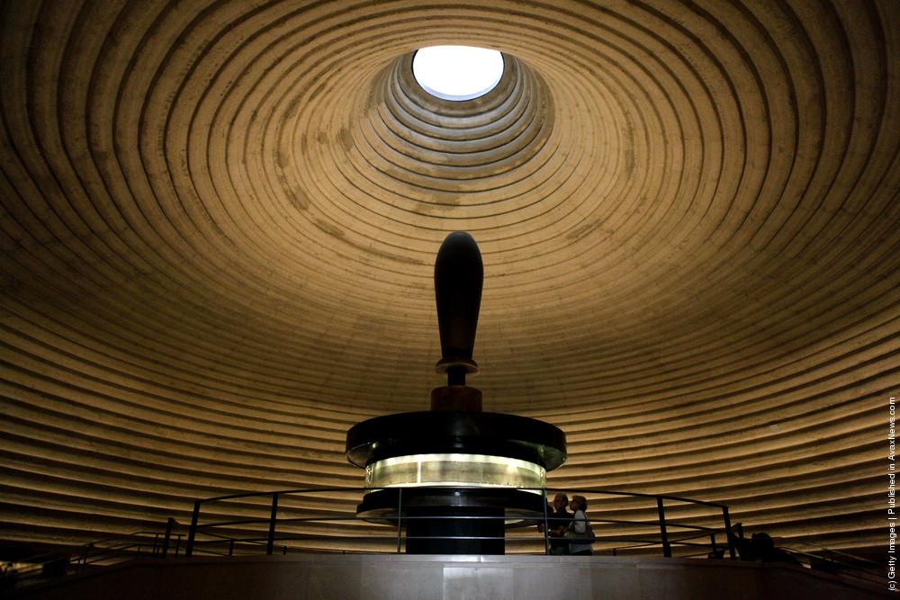 interior circular room with dead sea scrolls on display