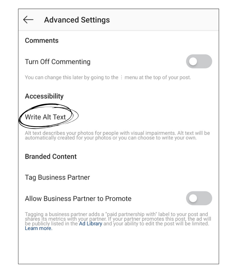 "A screenshot of the Advanced Settings page for an Instagram post. One of the options is Accessibility and there is a link ""Write Alt Text"" which is encircled."