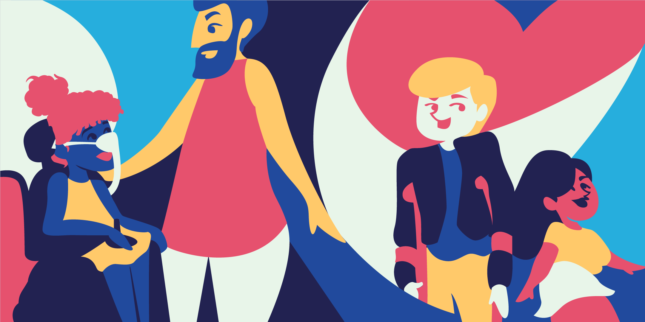 A colourful illustration of 4 people with varying disabilities