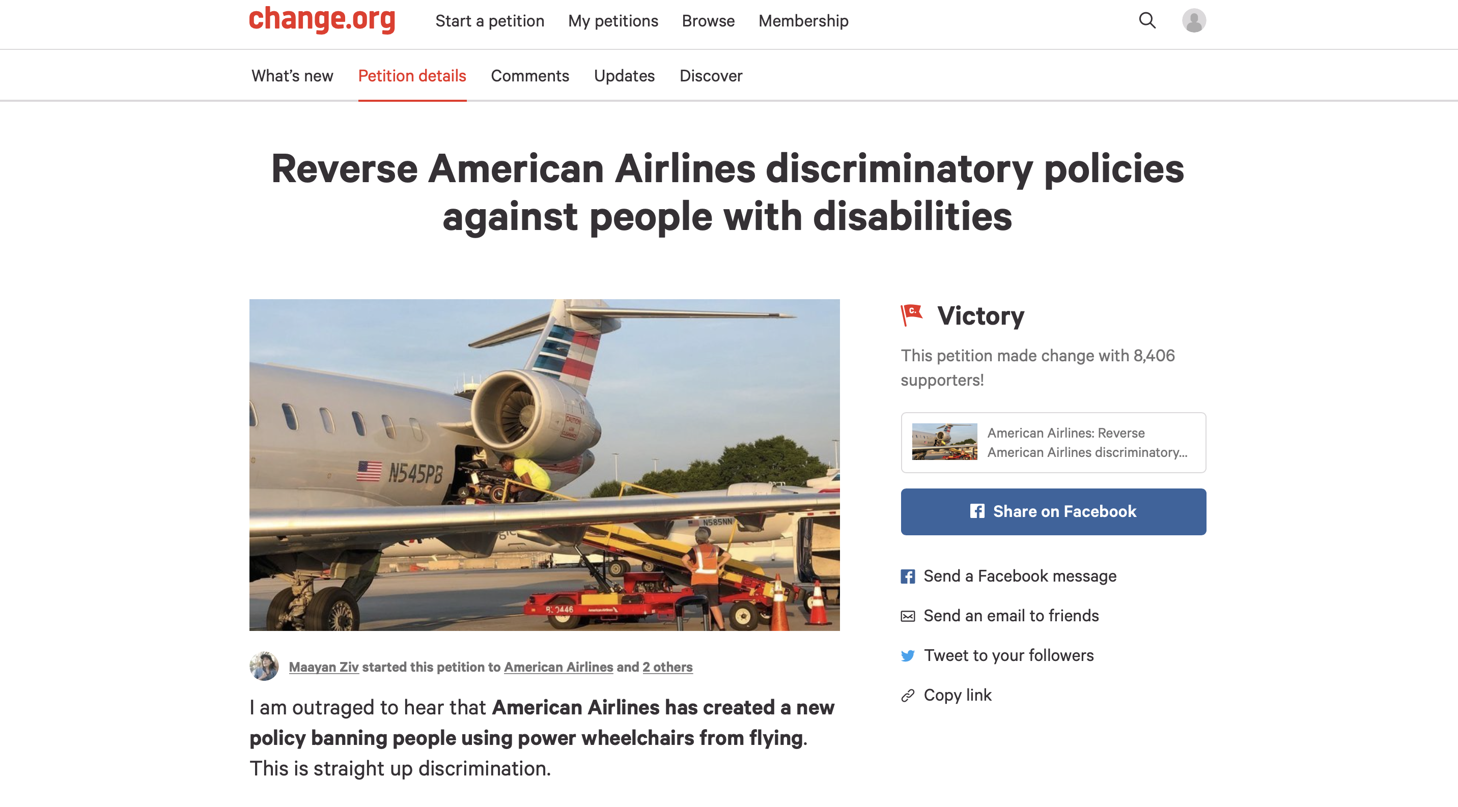 "Screenshot of the Crip American Air Petition on Change.org. Title of the campaign is ""Reverse American Airlines discriminatory policies against people with disabilities"" and it says ""Victory: This petition made change with 8,406 supporters"""