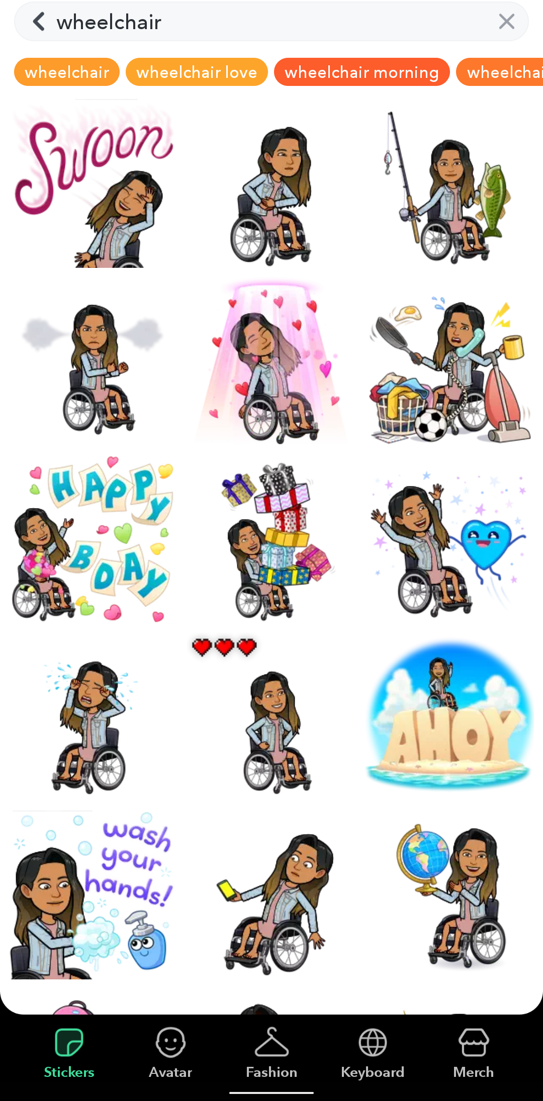 Selection of Bitmoji results of avatars with wheelchair