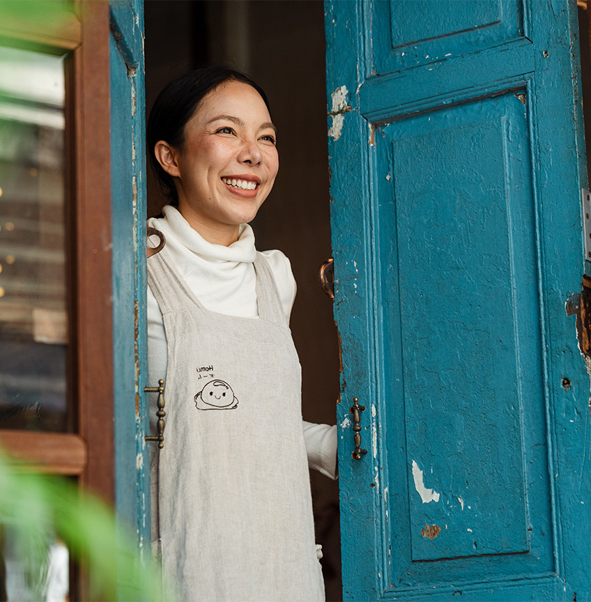 small business owner smiling